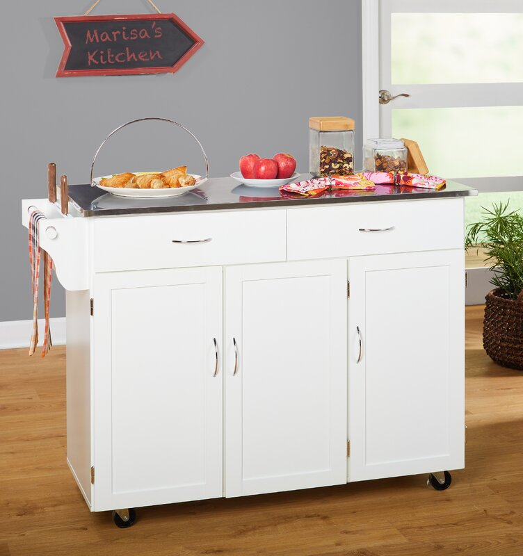 kitchen island stainless steel top red barrel studio garrettsville kitchen island with stainless steel top reviews wayfair 2676