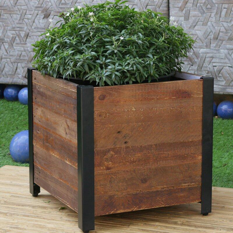 Gracie Oaks Linscott Square Urban Garden Recycled Wood Planter Box Reviews Wayfair
