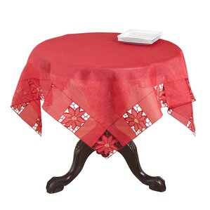 Embroidered And Cutwork Poinsettia Design Tablecloth