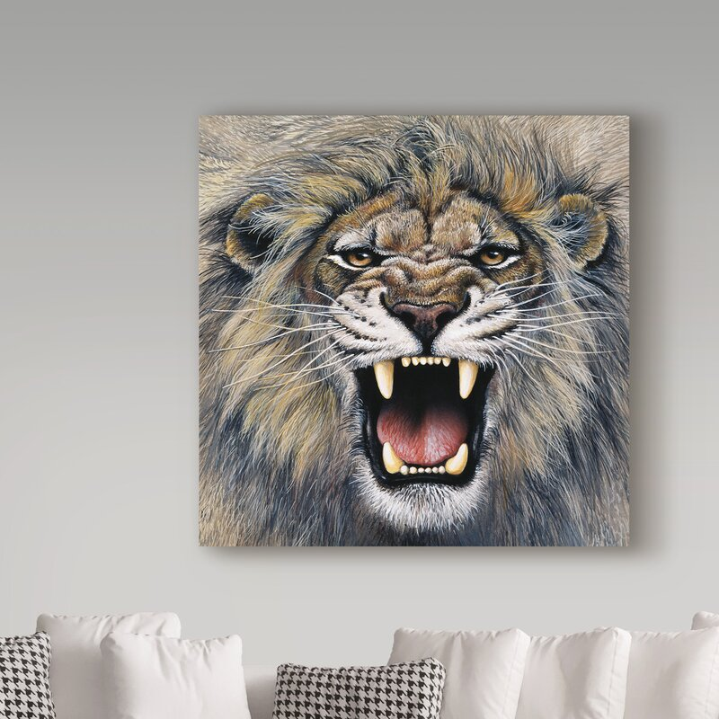 979b6ff116a15 'Lion Roaring' Acrylic Painting Print on Wrapped Canvas