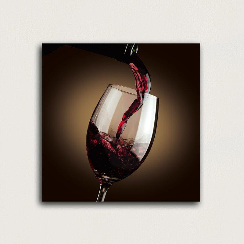 Eurographics Dark Flowing Red Wine Glass Wall Art | Wayfair.co.uk
