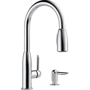 Peerless Faucets Single Handle Widespread Kitchen Faucet with Soap Dispenser
