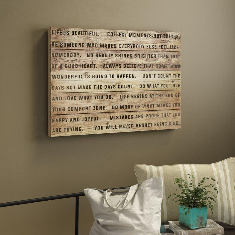 Gracie Oaks Life Is Beautiful Textual Art On Wood Reviews Wayfair