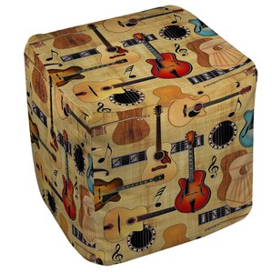 Guitar Collage Cream Ottoman by Manual Woodworkers & Weavers