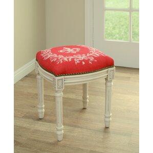 Clematite Fleur De Lis Linen Upholstered Vanity Stool