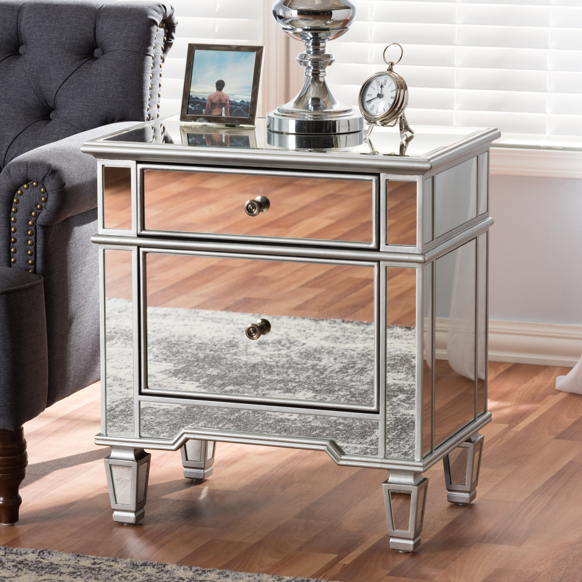 House Of Hampton Beglin Hollywood Regency Glamour Style Mirrored 2 Drawer Nightstand Reviews Wayfair