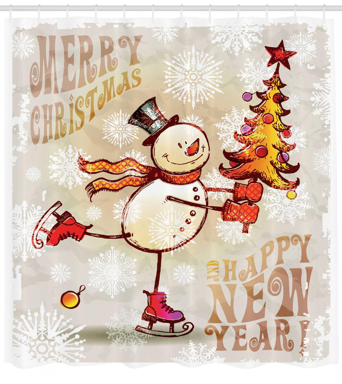 Ambesonne Christmas Shower Curtain Skating Happy Snowman With Christmas Tree Cheerful Hand Drawn Ornate Snowflakes Cloth Fabric Bathroom Decor Set