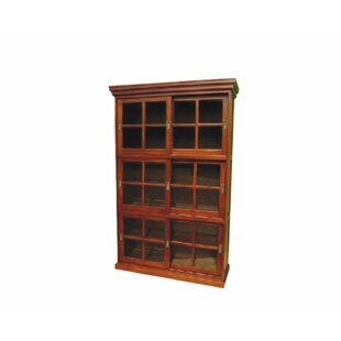 Neela Mahogany Wood 3 Section Sliding Door Display Cabinet Furniture