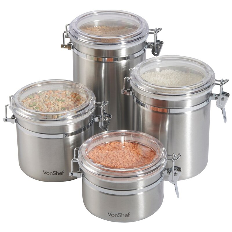 Stainless Steel 4 Piece Kitchen Canister Set