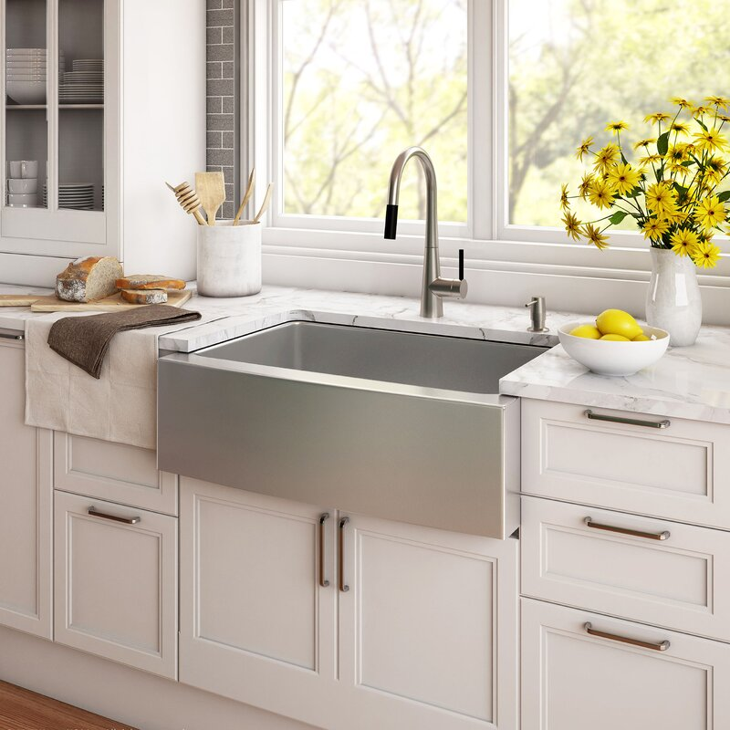 2 sinks in kitchen kraus 33 quot x 21 quot farmhouse kitchen sink with drain assembly 3820