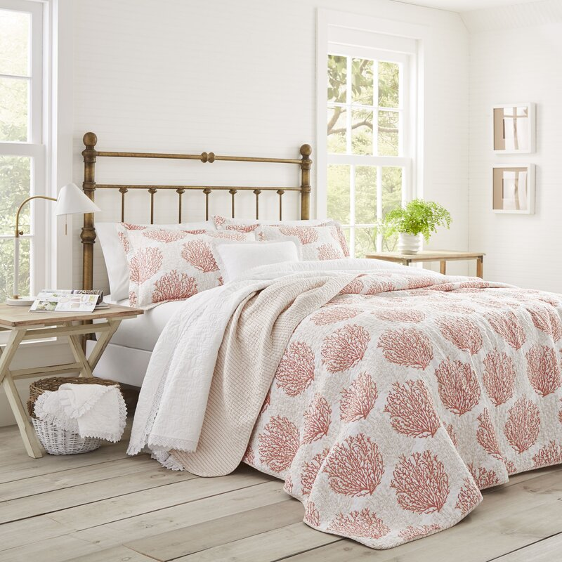 laura ashley home coral coast cotton reversible quilt set. Black Bedroom Furniture Sets. Home Design Ideas