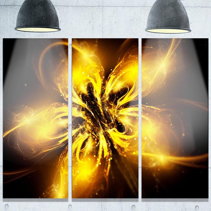 3533d4c9137b DesignArt Shiny Gold Fractal Flower on Black  3 Piece Graphic Art on ...