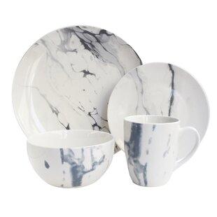 Hoekstra 16 Piece Dinnerware Set Service for 4  sc 1 st  Wayfair & Stoneware White Dinnerware Sets Youu0027ll Love | Wayfair