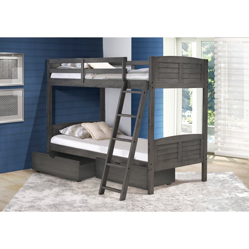 Birch Lane Twin Over Twin Bunk Bed With Dual Storage Drawers Wayfair