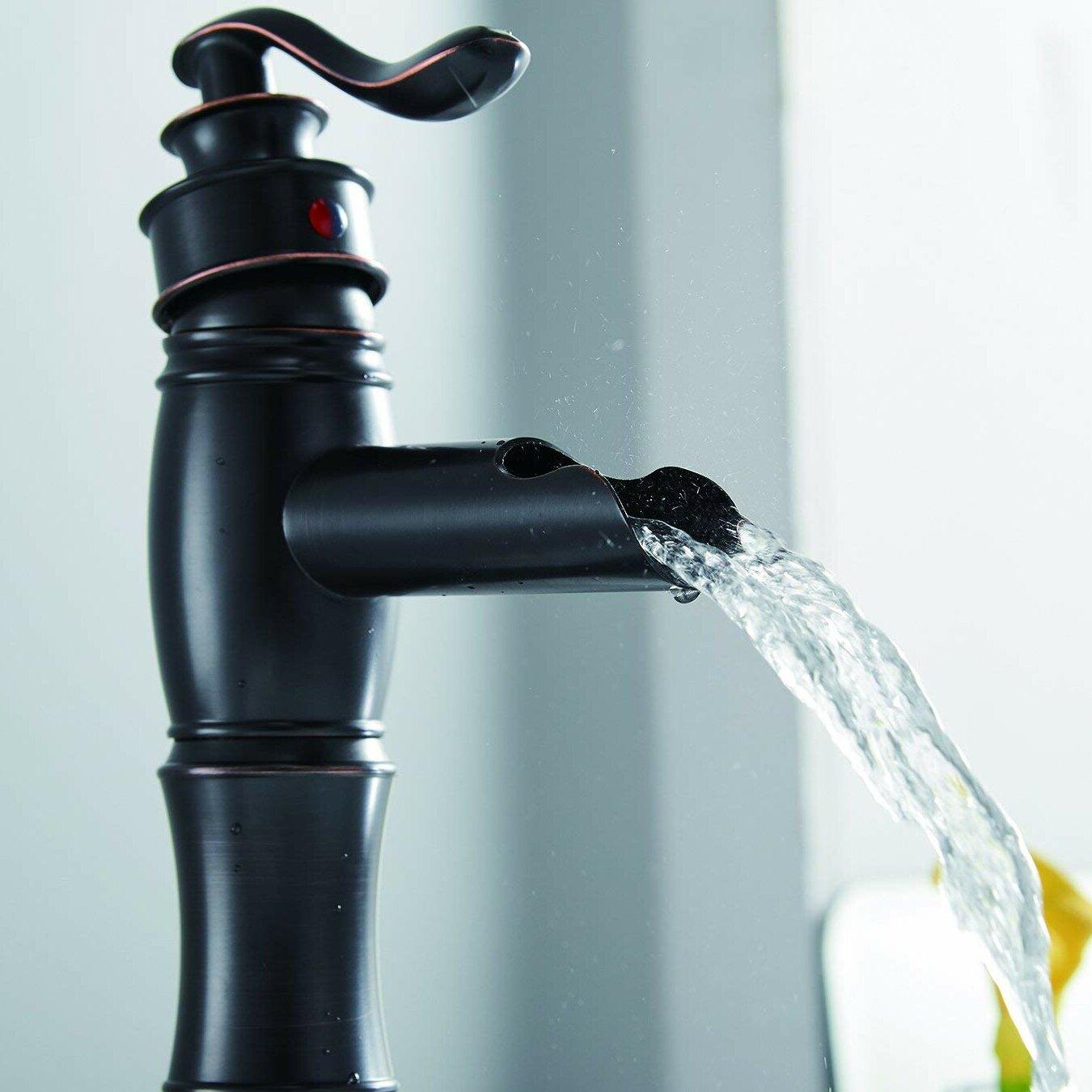 Aquafaucet DFI Waterfall Lavatory Deck Mount Sink Single Hole ...