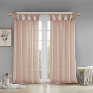 Mysliwiec Fl Twist Solid Semi Sheer Tab Top Single Curtain Panel