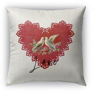 Love Birds Burlap Indoor/Outdoor Pillow