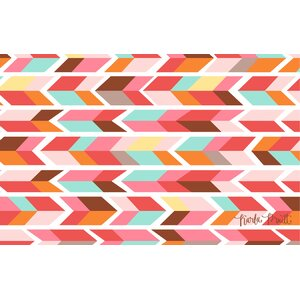 Arrowhead Pink/Blue Chevron Area Rug