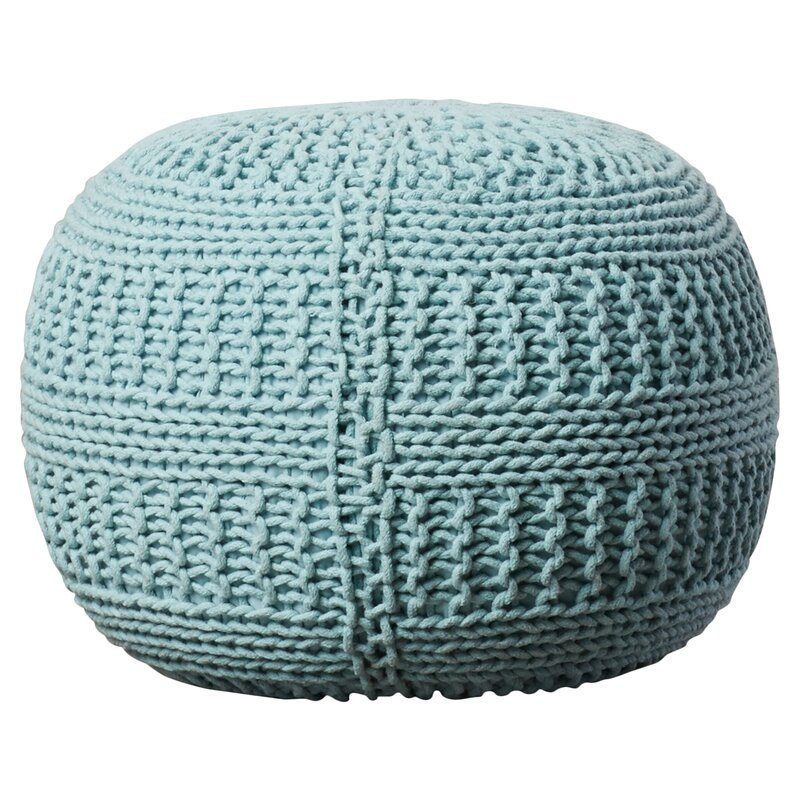 Viv Rae Ramon Color Cable Knit Pouf Reviews Wayfair Amazing Turquoise Knitted Pouf