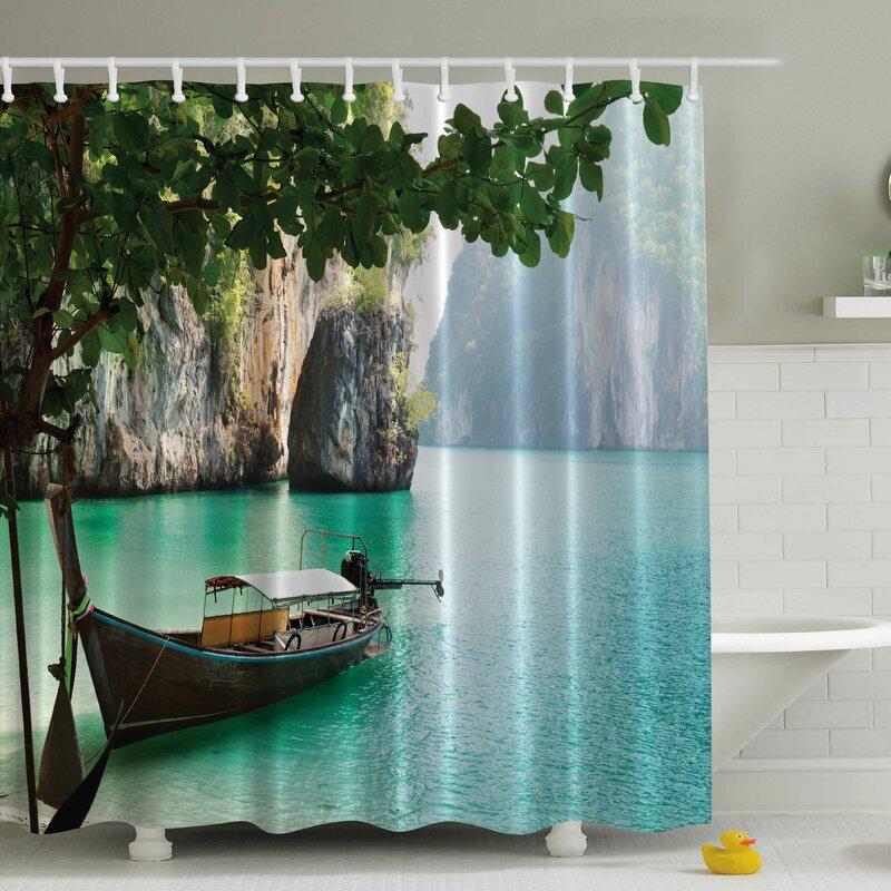 Ambesonne Wood Sandal Print Shower Curtain & Reviews   Wayfair