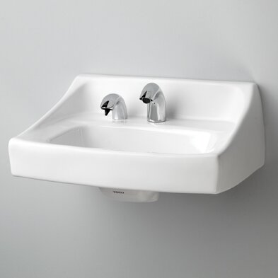 "toto commercial 31"" wall mount bathroom sink with overflow"
