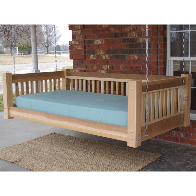 Tang Cedar Traditional Style Hanging Daybed Swing