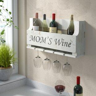 Truluck Mom's Wine 4 Bottle Wall Mounted Wine Rack
