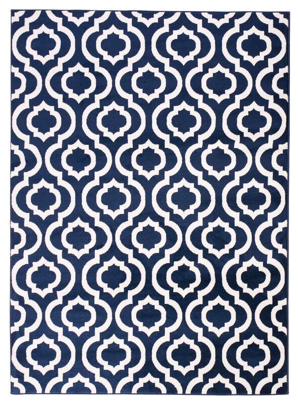 charlton home buchan navy/white area rug & reviews | wayfair