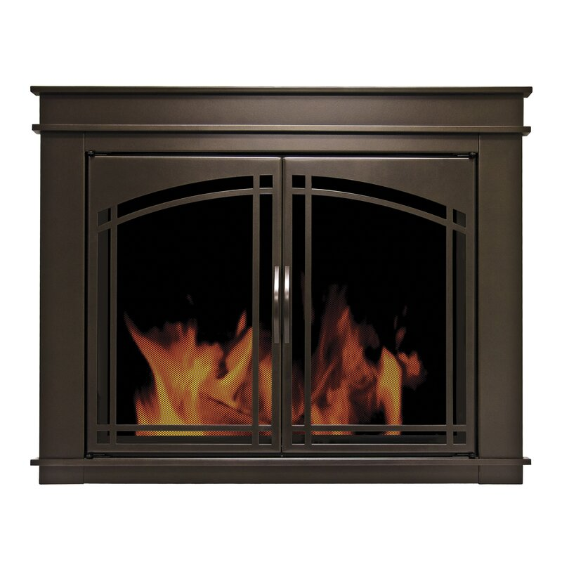 Pleasant Hearth Fenwick Cabinet Style Fireplace Screen & Arch ...