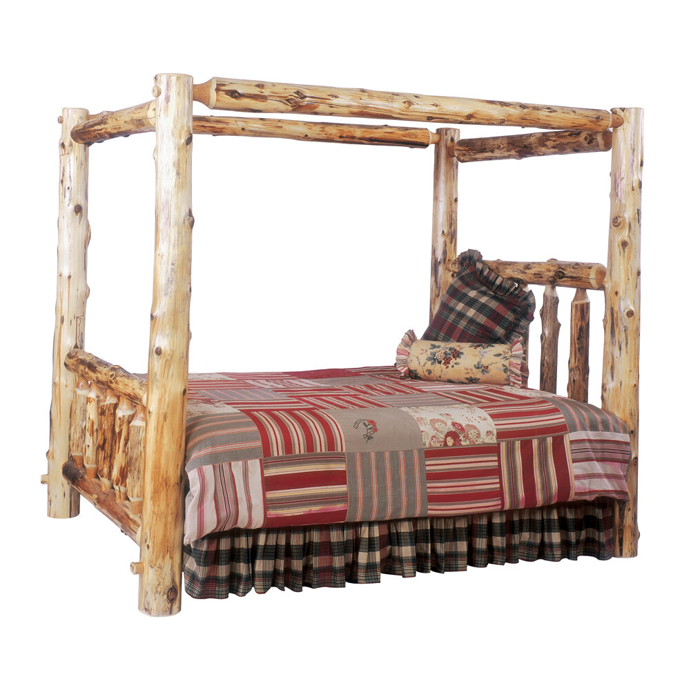 Fireside Lodge Traditional Cedar Log Canopy Bed | Wayfair