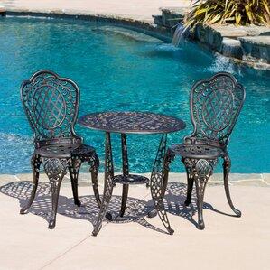 domingo 3 piece bronze cast aluminum outdoor bistro set - Cast Iron Patio Furniture