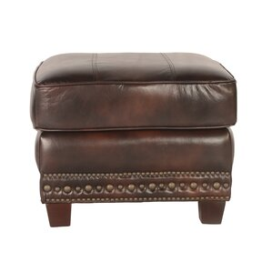 Anna Leather Ottoman by Lazzaro Leather