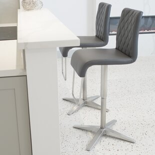 Helfer High-Back Adjustable Height Swivel X Base Bar Stool