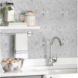 kitchen ceramic tile wood effect calacatta cressa herringbone honed marble mosaic tile in white backsplash youll love wayfair