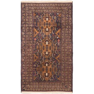 Shaffer Hand-Knotted Dark Navy/Light Brown Area Rug