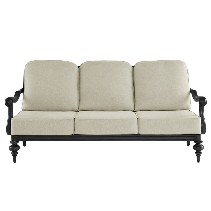 Canora Grey Hargrave Patio Sofa with Cushions  Frame Color: Black