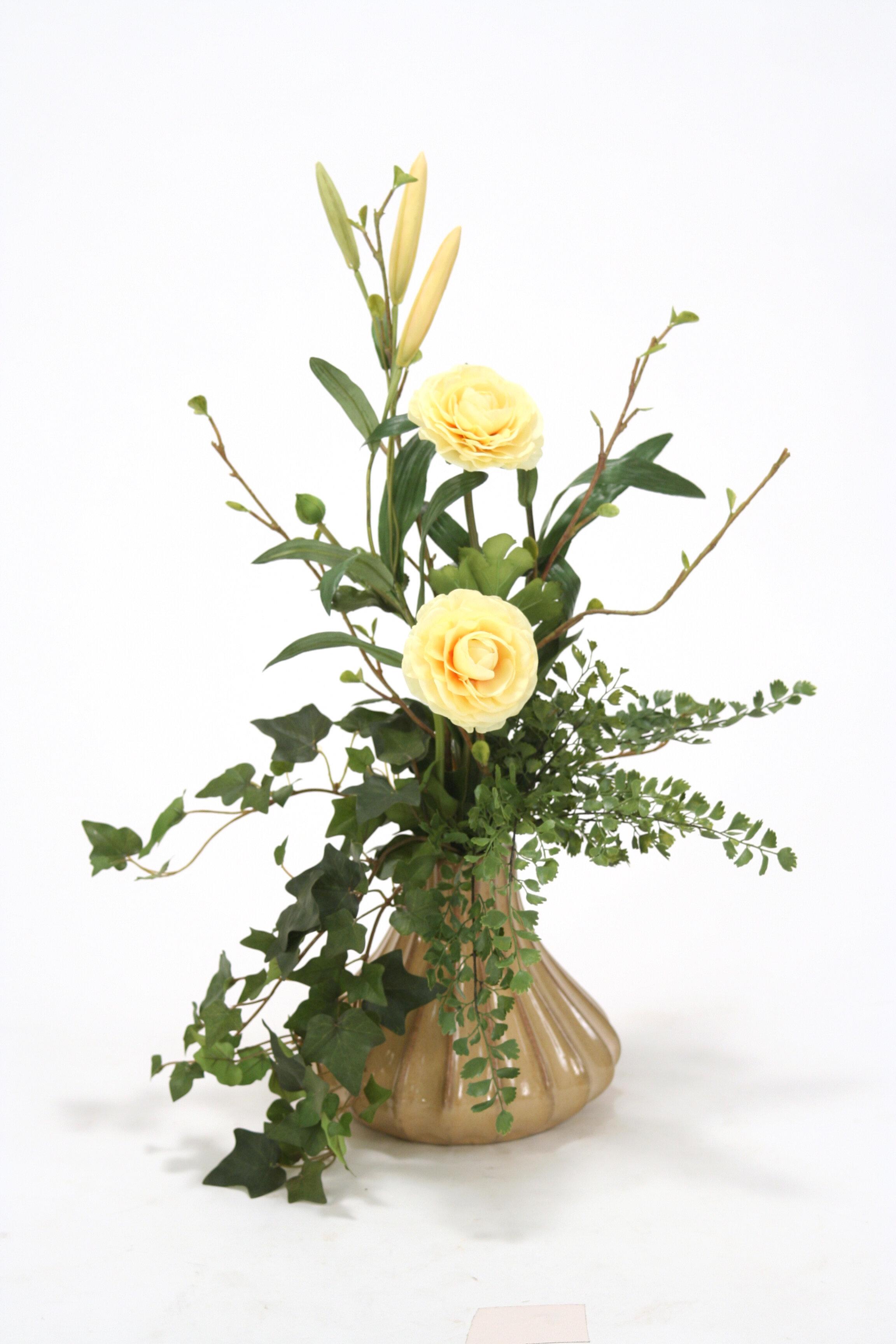 Distinctive Designs Silk Fl Ranunculus Arrangement In Fluted Vase Wayfair