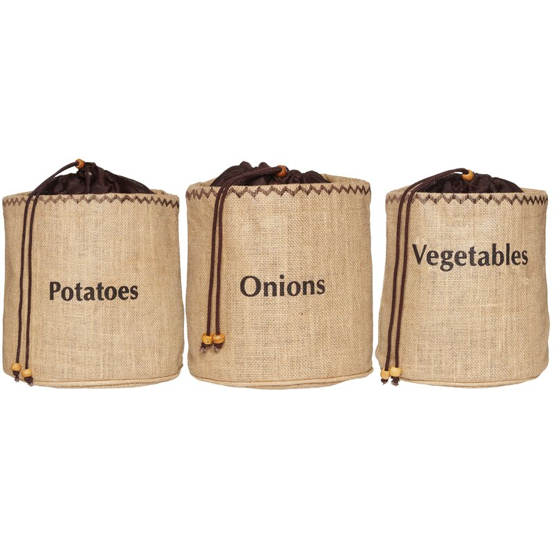 kitchencraft natural elements 3 piece vegetable storage sacks set