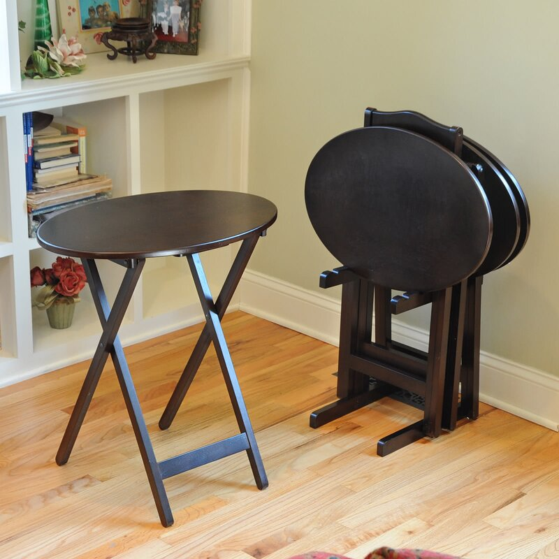Bay Shorre Piece Oval Tray Table Set with Stand