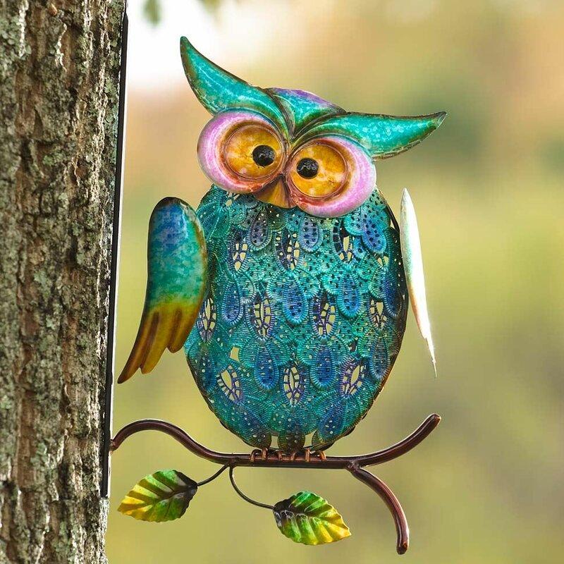 Metal Owl On Branch Wall Decor