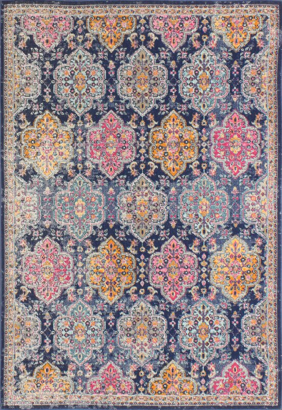 Fernand Dark Blue/Orange Area Rug
