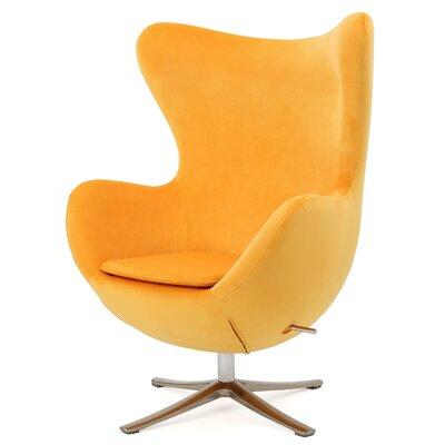 Brayden Studio Fleischman Swivel Balloon Chair Upholstery: Orange
