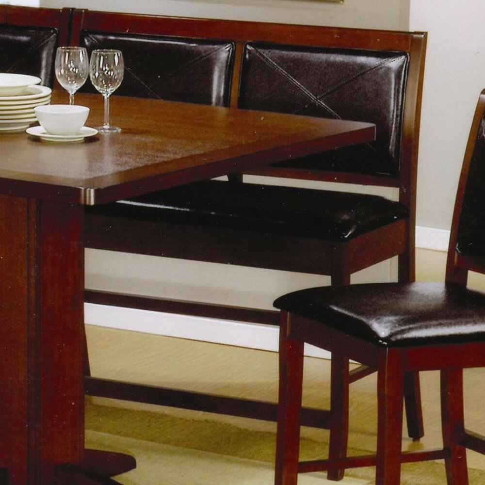 Red Barrel Studio Est Counter Height Dining Corner Faux Leather Bench |  Wayfair