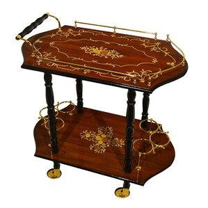 Poole Inlaid Wood Beverage Bar Cart by As..