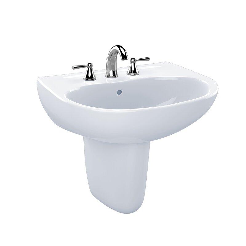 "toto supreme ceramic 22"" wall mount bathroom sink with overflow & reviews | wayfair"