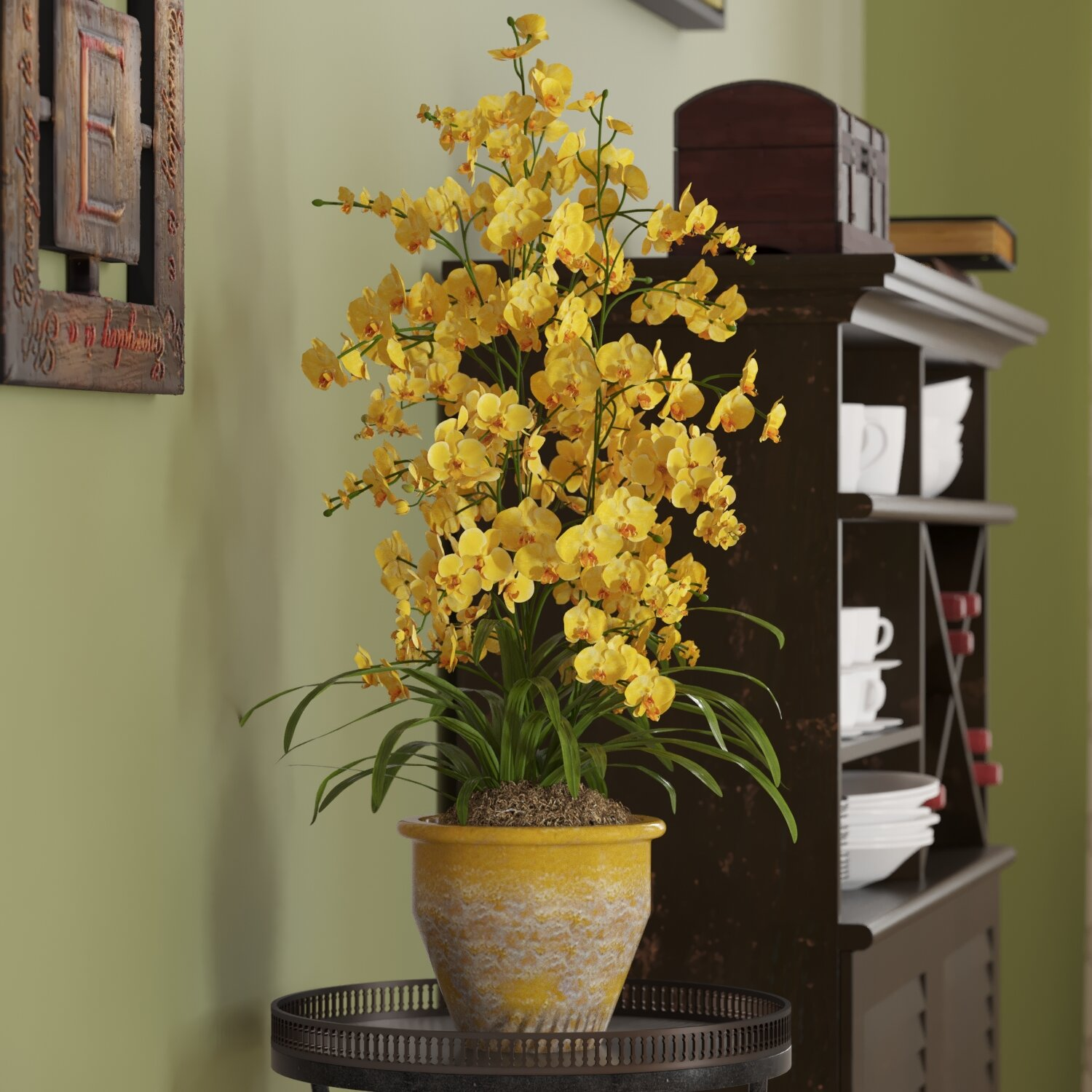 Three Posts Triple Dancing Lady Silk Orchid Flowers In Yellow