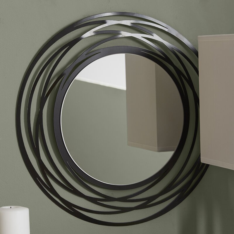 Round Wall Mirrors wade logan fluent round wall mirror & reviews | wayfair