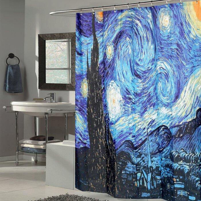Van Gogh Starry Night Fabric Single Shower Curtain
