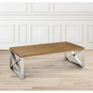 Rempe Stainless Steel Distressed Wood Coffee Table by Brayden Studio