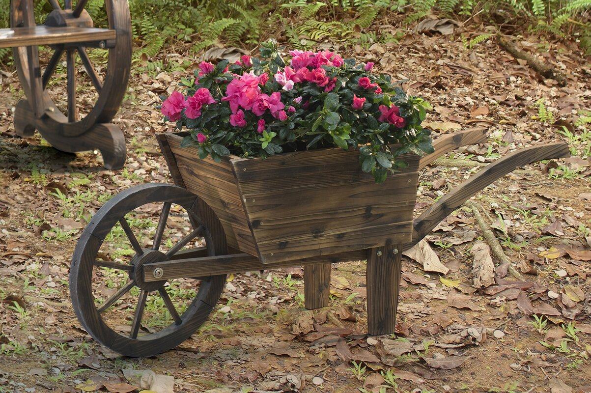 how to build a planter wheelbarrow out of wood